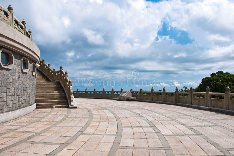 Het terras van Po Lin Monestery royalty-vrije stock foto
