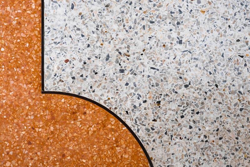Het terrazzo poetste van de steenvloer en muur patroon en het marmer van de kleurenoppervlakte en granietsteen, materiaal voor de stock foto