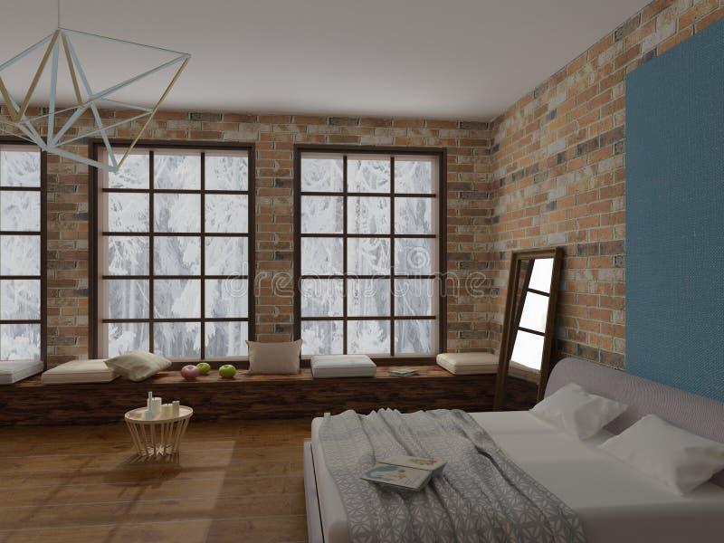 Het teruggeven van comfortabel binnenland van slaapkamer in Zolderstijl met het hardhoutvloer van het bakstenen muur zachte bed stock afbeelding