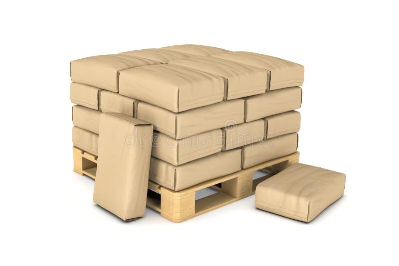 Het teruggeven van grote document zakkenrust op pallet stock illustratie