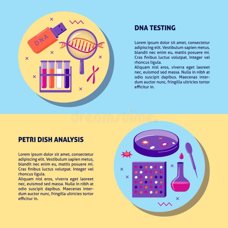 Het testen en de analyse medisch bannermalplaatje van DNA in vlakke stijl stock illustratie