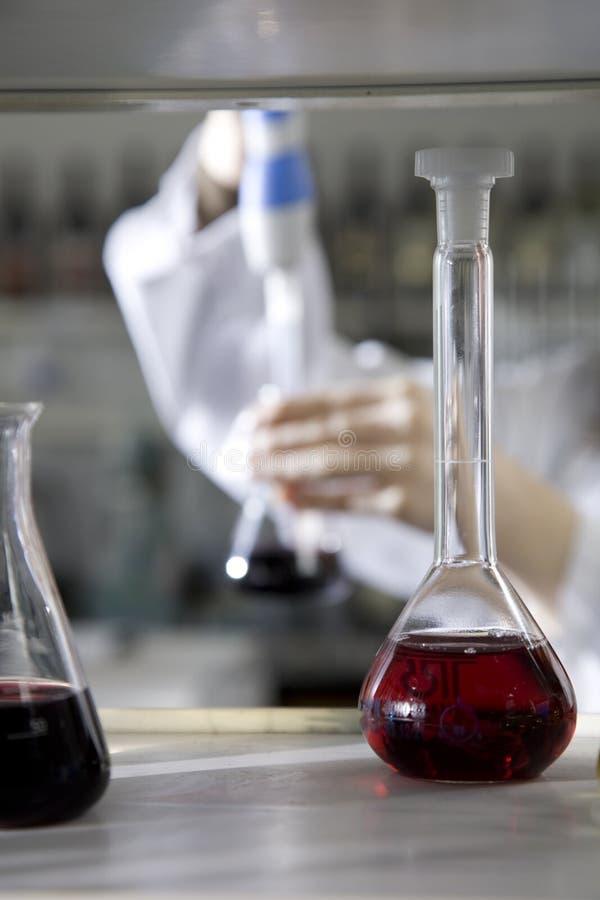 Het testen van de wijn laboratorium stock afbeelding