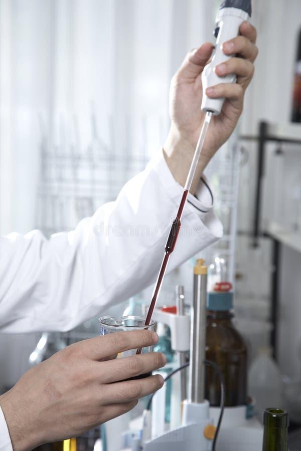 Het testen van de wijn laboratorium royalty-vrije stock afbeelding