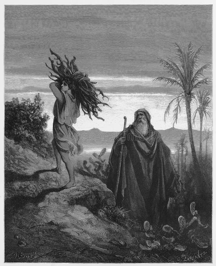 Het testen van het geloof van Abraham vector illustratie