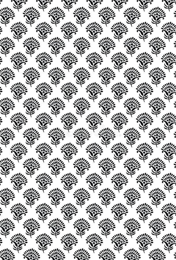 Het textiel Indische van het de kunstontwerp van het ornamentpatroon mooie Patroon Indisch Naadloos Traditioneel zwart-wit Indisc royalty-vrije illustratie