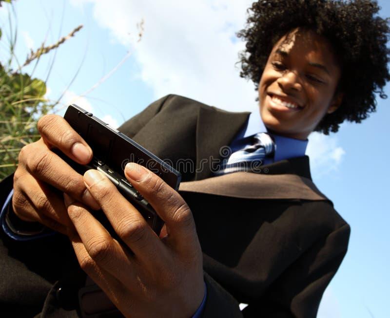 Het texting van de mens royalty-vrije stock foto