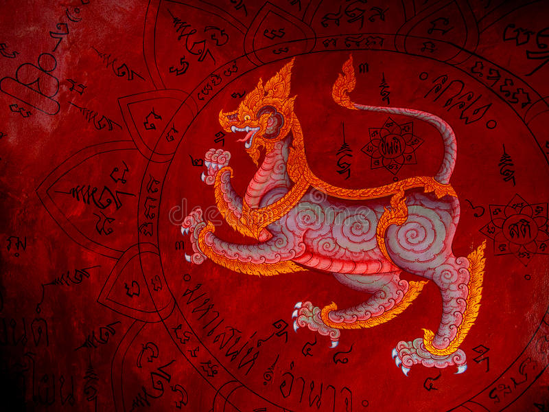 Het Thaise Boeddhistische Tempelmuurschildering Schilderen in Satahip, Chonburi, Thailand stock afbeeldingen