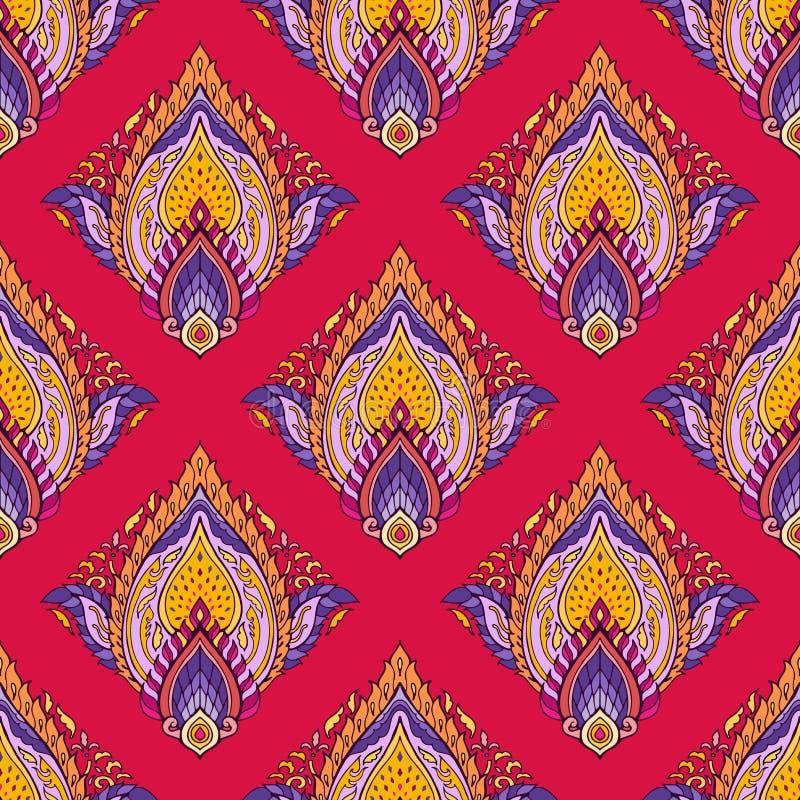 Het Thaise boho elegante kleurrijke ornament Brits-Indië van lotusbloemmandala bloeit voor naadloze drukstof stock illustratie