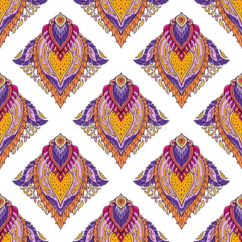 Het Thaise boho elegante kleurrijke ornament Brits-Indië van lotusbloemmandala bloeit voor naadloze drukstof royalty-vrije illustratie