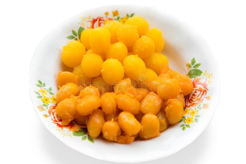 Het Thaise dessert maakte van bloem, eieren, slabonen en zoet de naam in Thai is Leren riem yod royalty-vrije stock fotografie