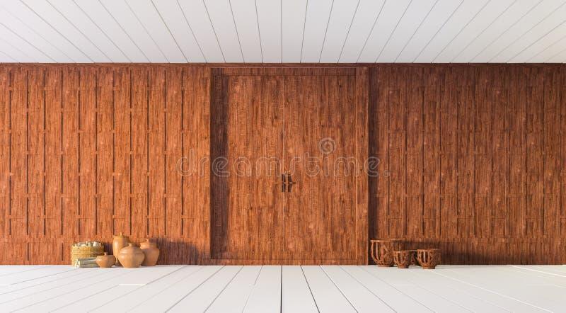 Het Thaise gesneden houten verdelingsmuur 3d teruggeven stock foto's