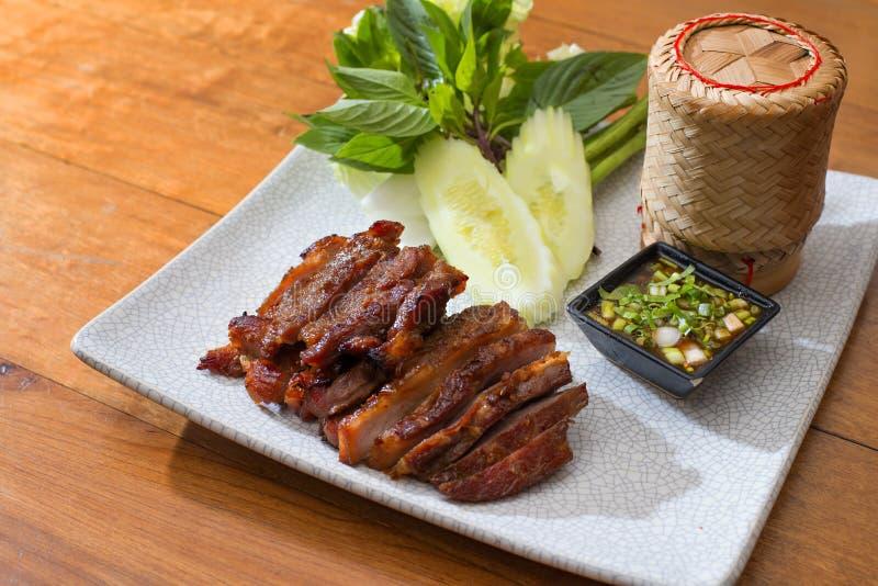 Het Thaise lapje vlees van het stijlvarkensvlees royalty-vrije stock afbeelding
