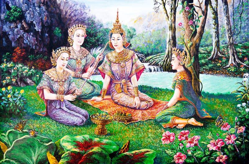 Het Thaise leven in de tuin van olieverfschilderij stock fotografie