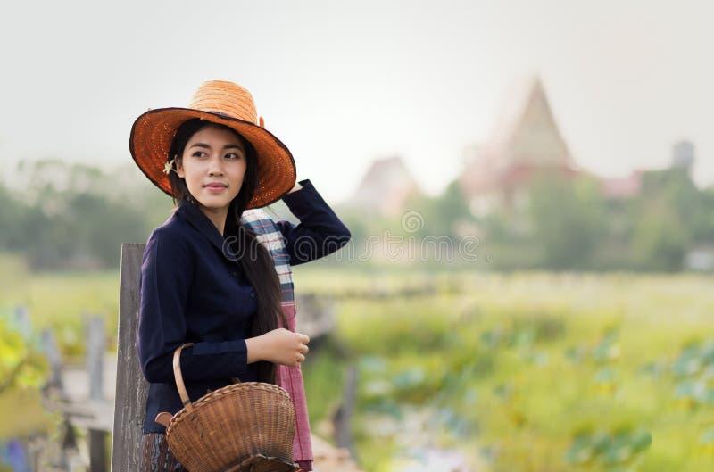 Het Thaise lokale vrouw werken stock foto
