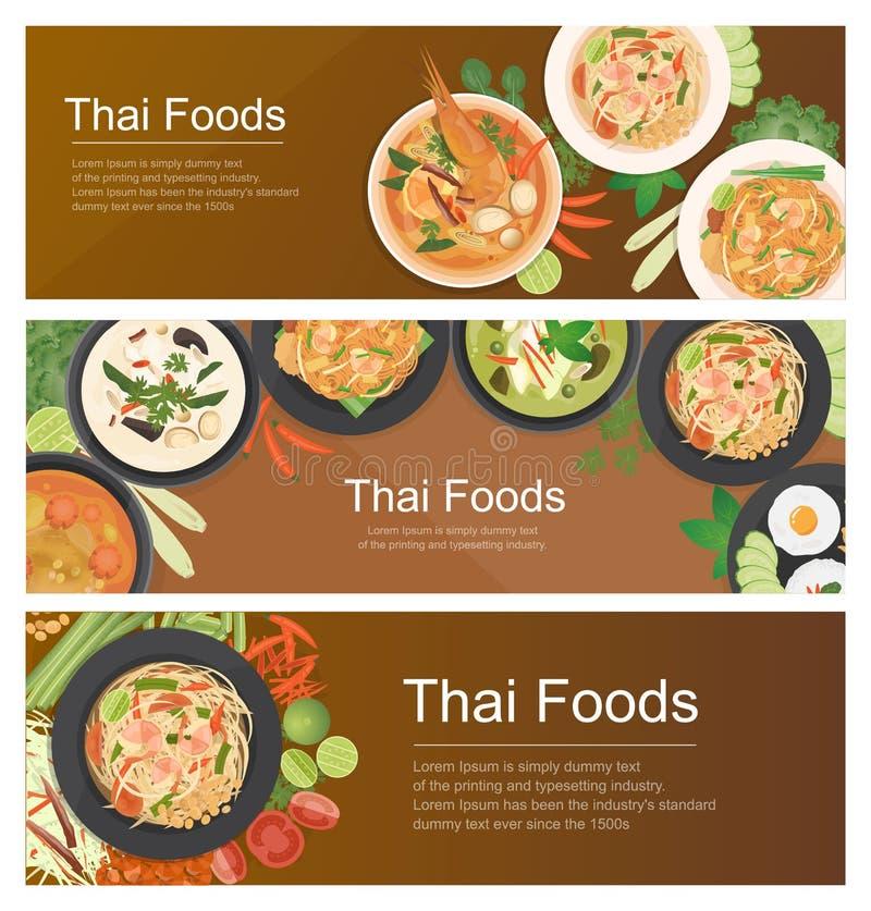 Het Thaise malplaatje van de voedselbanner stock afbeelding