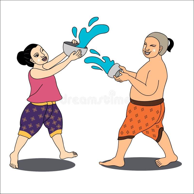 Het Thaise meisje en de jongen genieten van bespattend water in Songkran-festival royalty-vrije stock foto's