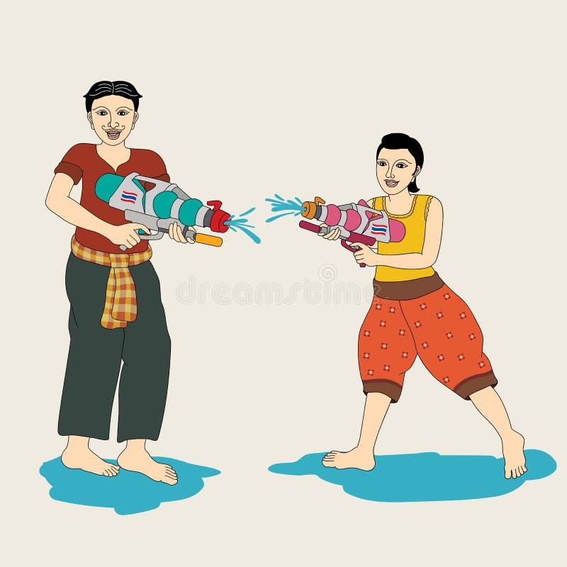 Het Thaise paar geniet van bespattend water in Songkran-festival stock afbeelding