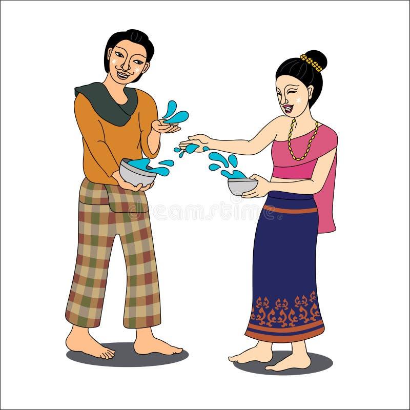 Het Thaise paar geniet van bespattend water in Songkran-festival royalty-vrije stock foto