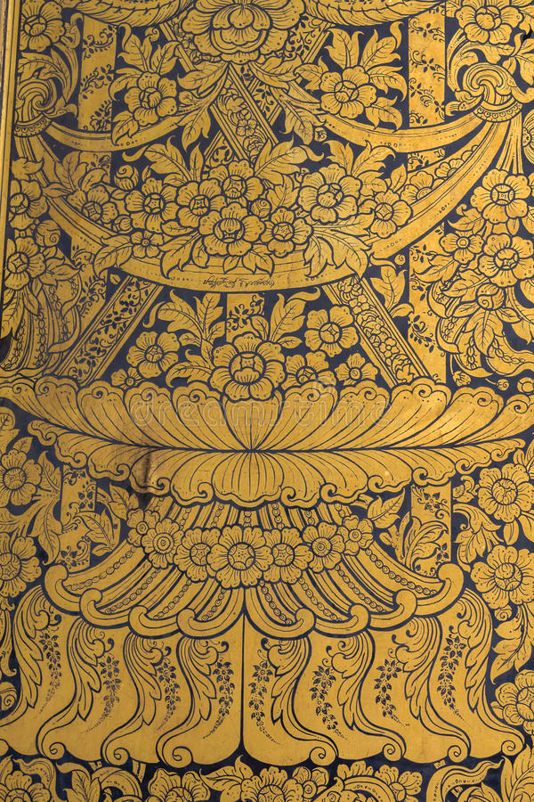 Het Thaise patroon van de muurkunst royalty-vrije stock foto