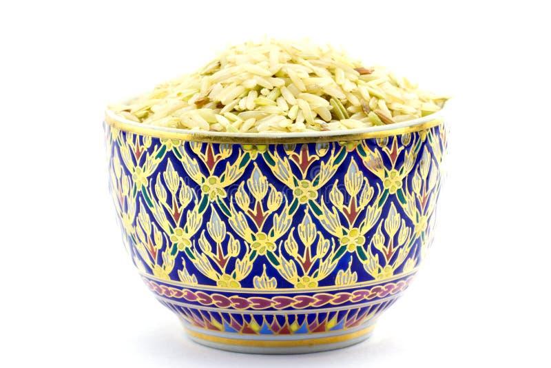 Het Thaise porselein zette ongepelde rijst royalty-vrije stock fotografie