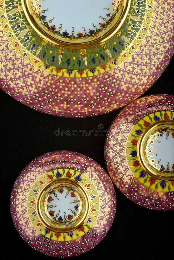 Het Thaise roze van het patroonporselein stock fotografie