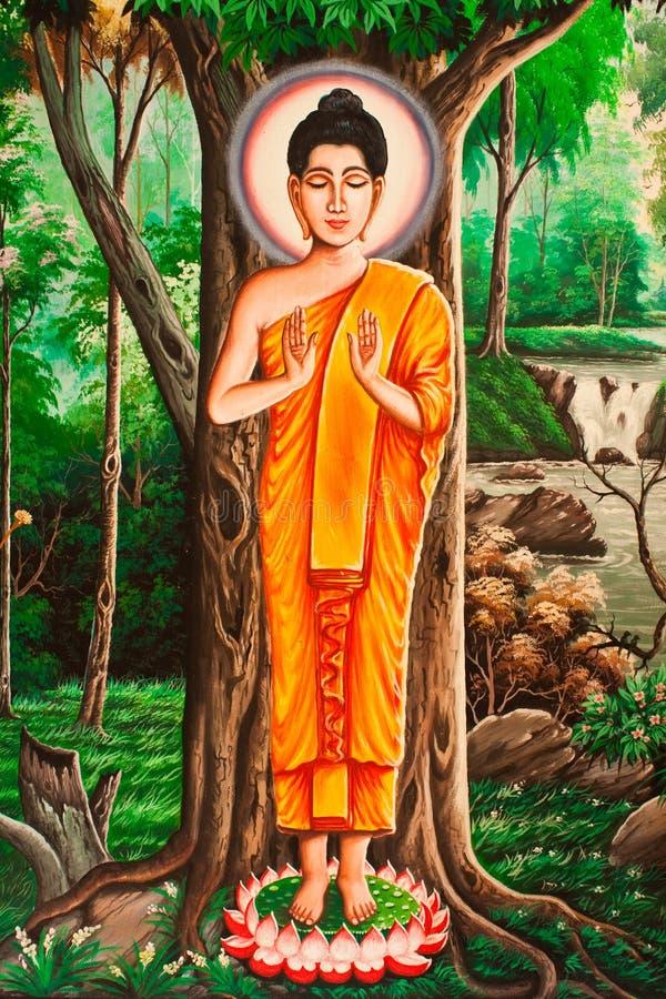 Het Thaise schilderen van Lord Boedha stock afbeeldingen