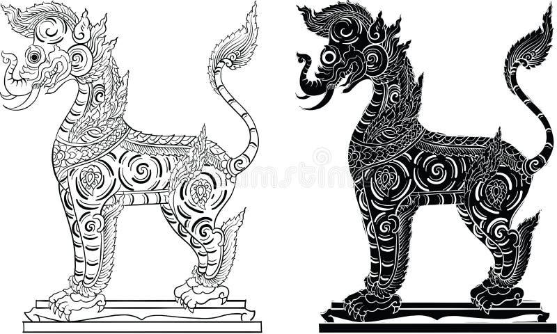 Het Thaise traditionele schilderen, tatoegering royalty-vrije stock afbeelding