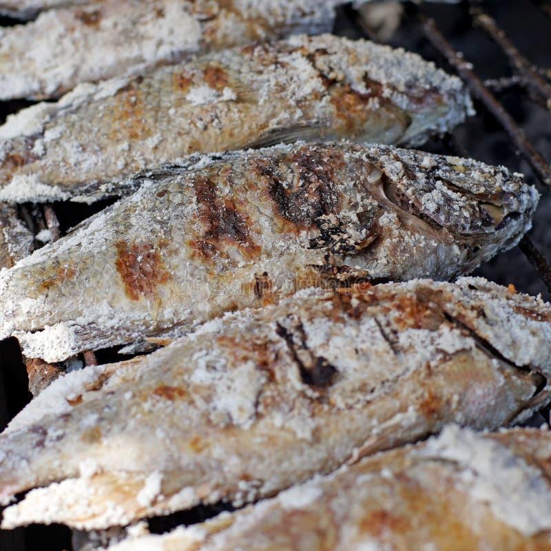 Het Thaise voedsel, zout geroosterde vissen stock afbeeldingen