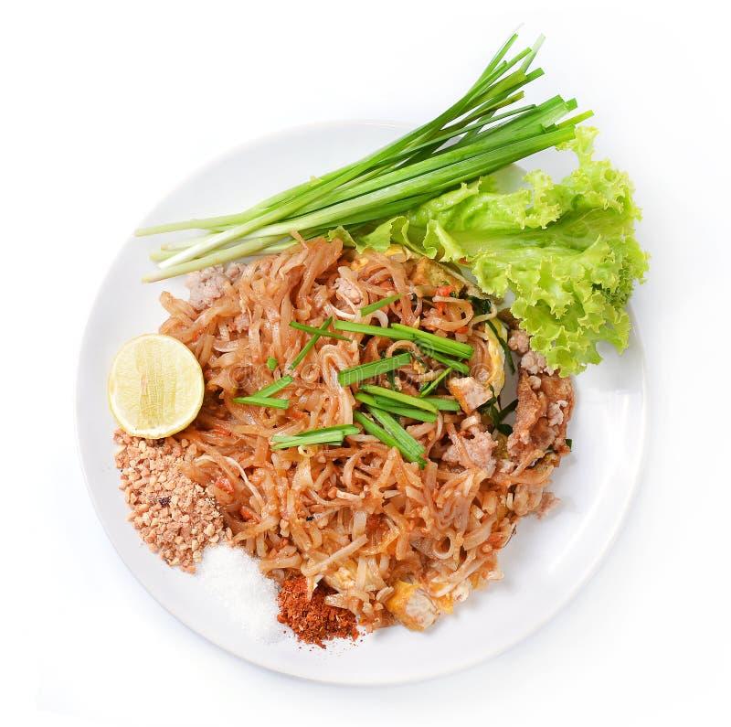 Het Thaise voedselstootkussen Thai, beweegt gebraden gerechtnoedels met garnalen stock fotografie