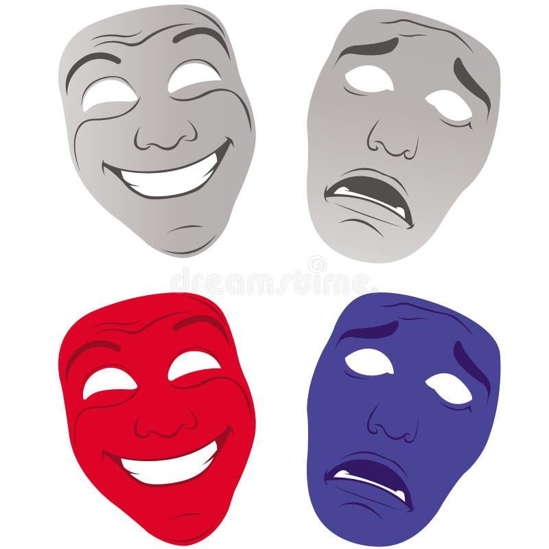 Het theater maskeert droevig en gelukkig royalty-vrije illustratie
