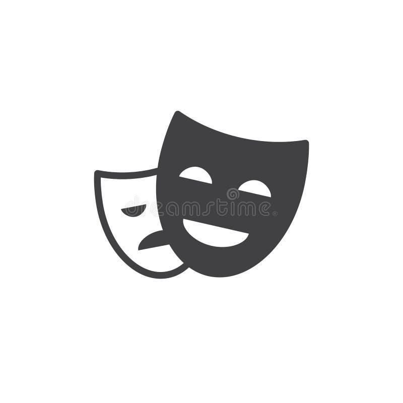 Het theater maskeert pictogram vector, gevuld vlak teken, stevig die pictogram op wit wordt geïsoleerd royalty-vrije illustratie