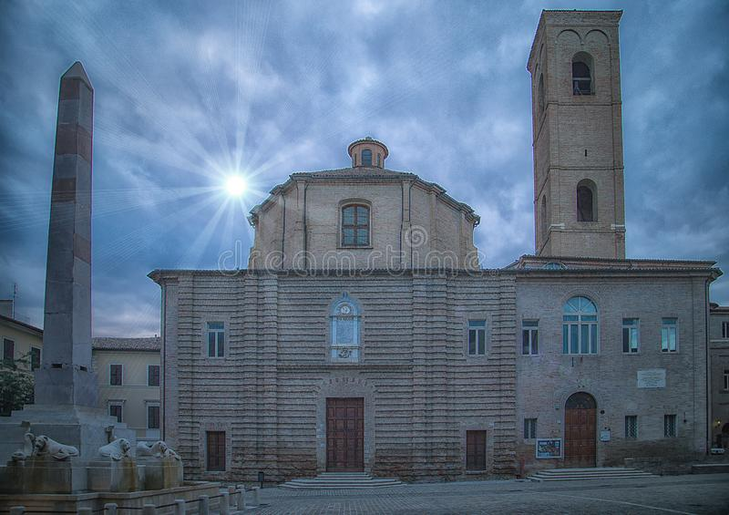 Het Theater Moriconi - historisch centrum van Jesi Italië 2014 22 Juli stock fotografie