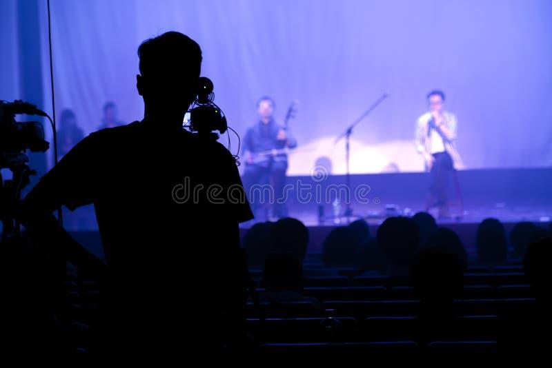 Het theater, stadium, prestaties, fotograaf, verslag, toont stock foto