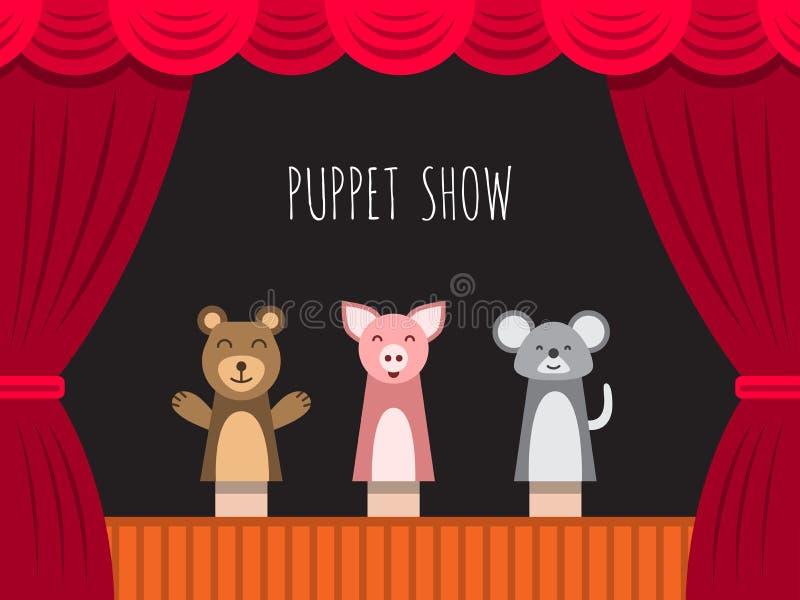 Het theater van de kinderenmarionet vector illustratie