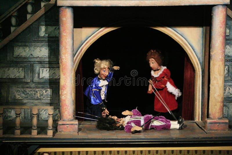 Het theater van de marionet. Praag stock fotografie