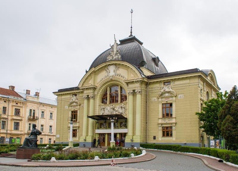 Het theater van de Muziek en van het Drama van Chernivtsi stock afbeeldingen