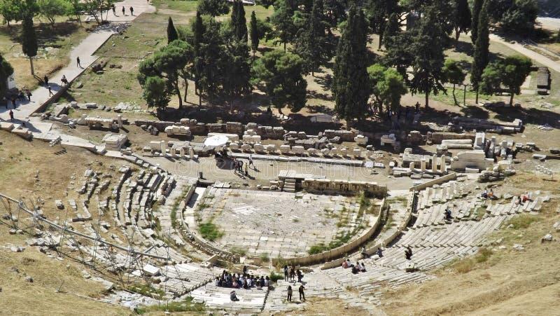 Het Theater van Dionysos bij de Akropolis, Athene, Griekenland royalty-vrije stock foto