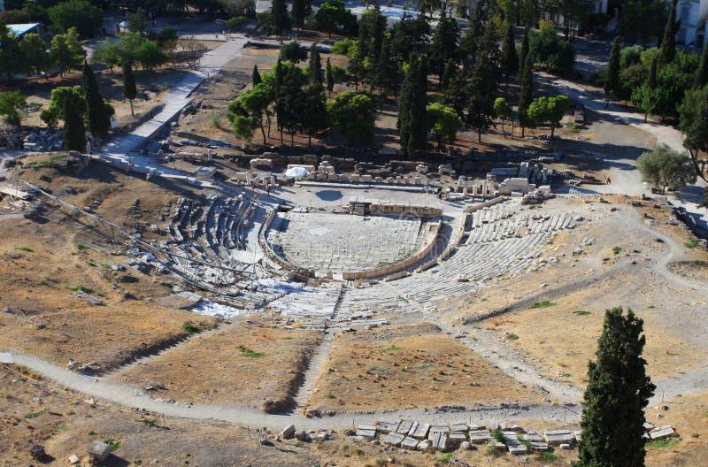 Het theater van Dionysus in Athene stock fotografie