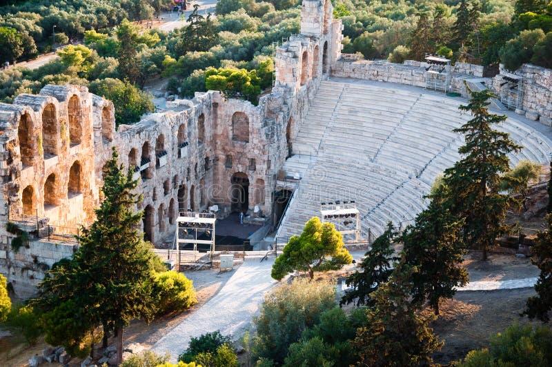 Het Theater van Dionysus Eleuthereus. Athene, Griekenland. royalty-vrije stock afbeelding