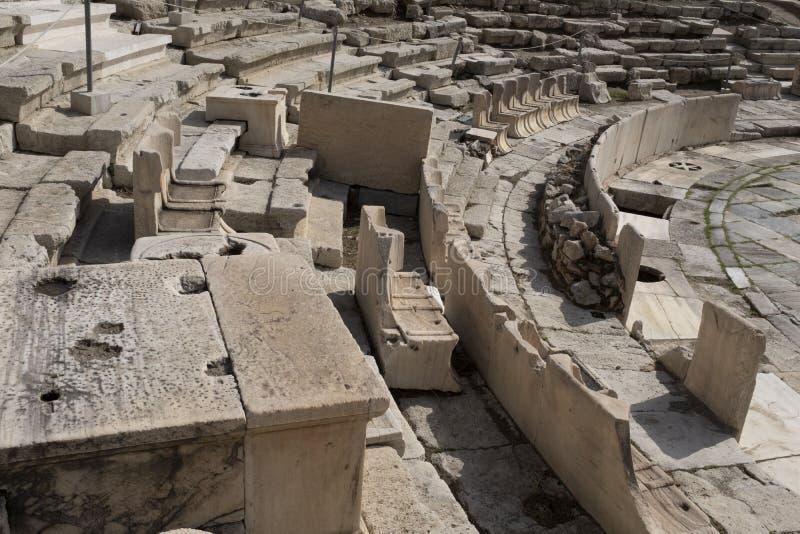 Het theater van Dionysus Eleuthereus bij de voet van de Akropolis, Athene stock afbeelding