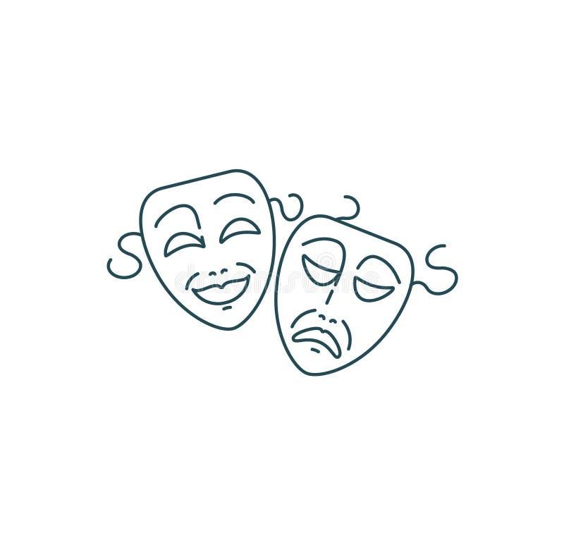Het theatermaskers van de komedie en van de tragedie vector illustratie