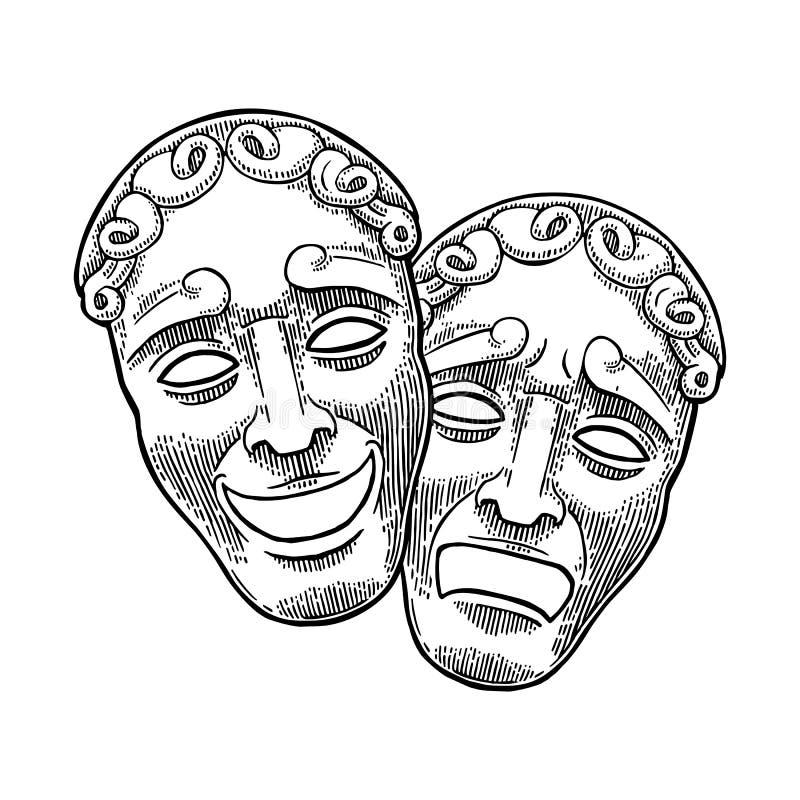 Het theatermaskers van de komedie en van de tragedie Vectorgravure uitstekende zwarte illustratie vector illustratie