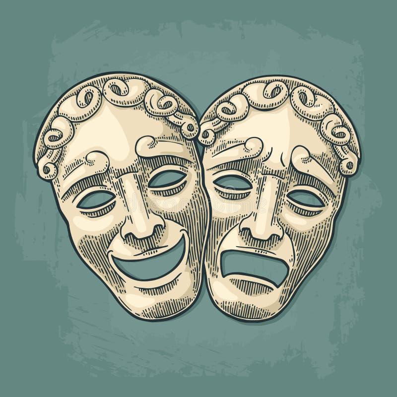 Het theatermaskers van de komedie en van de tragedie Vectorgravure uitstekende zwarte illustratie royalty-vrije illustratie
