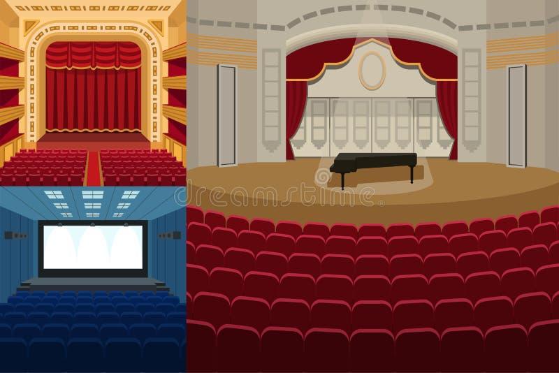 Het theaterstadium met gordijnenvermaak brengt theatrale de prestaties van de scène binnenlandse oude opera vector onder de aanda vector illustratie