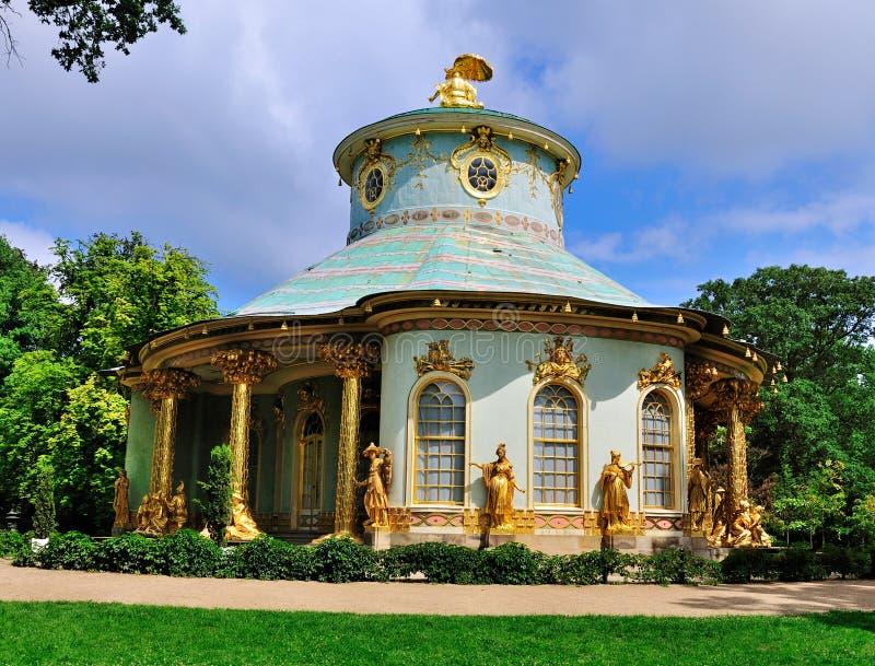 Het Theehuis van ruggegraten, Sanssouci, Potsdam stock foto's