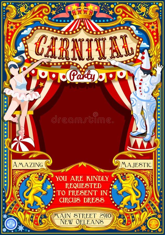 Het Thema uitstekende 2d vector van circuscarnaval vector illustratie