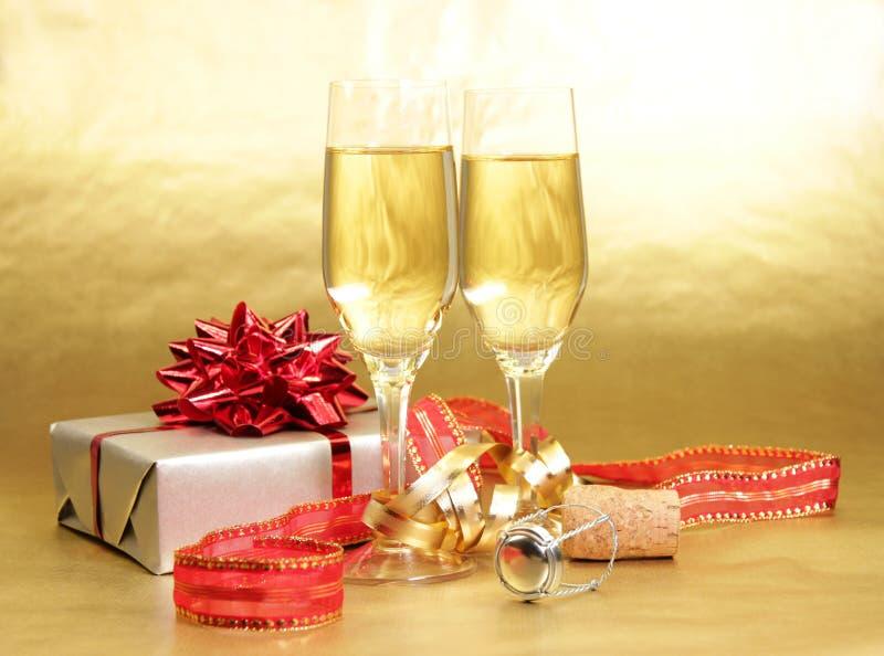 Het thema van Champagne stock foto's