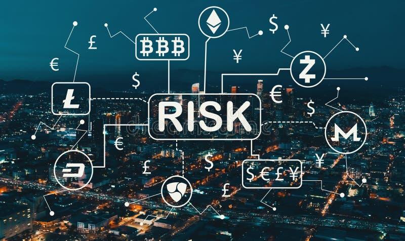 Het thema van het Cryptocurrencyrisico met Los Angeles Van de binnenstad royalty-vrije stock foto