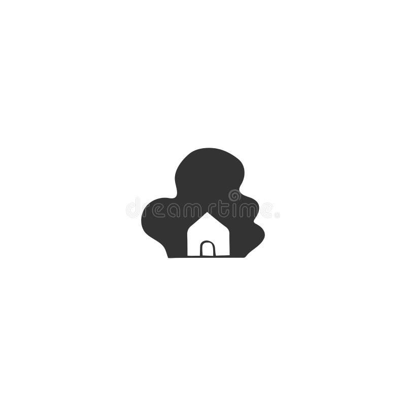 Het thema van de bezitshuur Hand getrokken vectorpictogram, een huis in een bos stock illustratie
