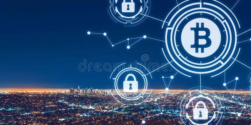 Het thema van de Bitcoinveiligheid met Los Angeles van de binnenstad royalty-vrije stock fotografie